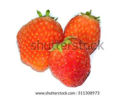 strawberries collected from the garden of nutritious and delicious on a white background