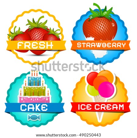 Strawberries - Ice Cream - Cake Strawberry in Milk Icons