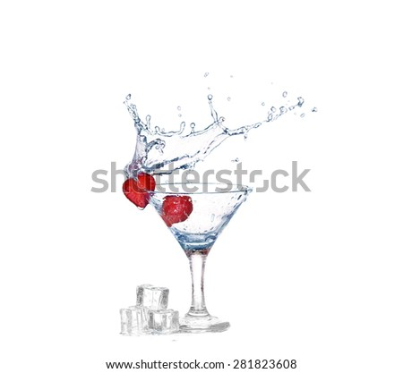Strawberries, ice cubes into the glass - stock photo