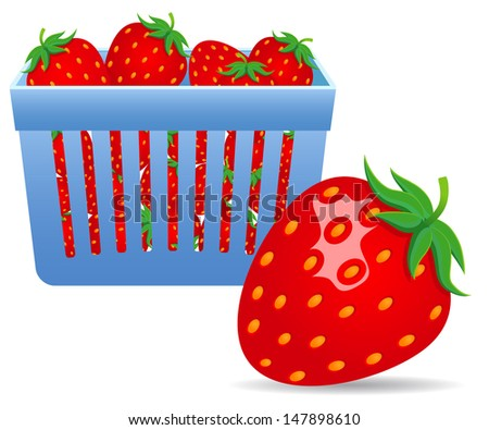 Strawberries in a Basket. Raster version. Vector version is also available. - stock photo