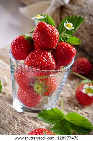 Strawberries in a glass.