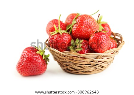Strawberries in basket isolated on a white