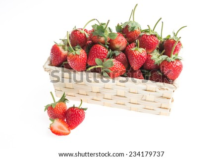 Strawberries in basket on white background.