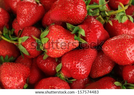 Strawberries in bowl close-up background