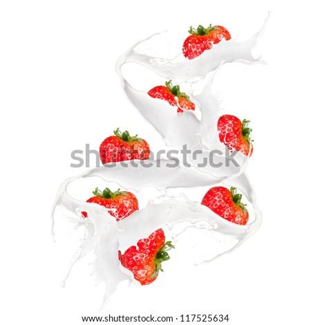 Strawberries in cream splash, isolated on white background - stock photo