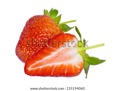 Strawberries isolated against white background.