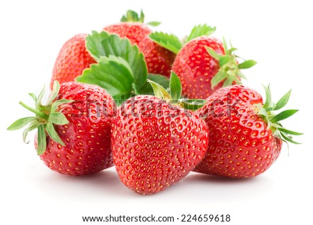 Strawberries isolated on a white background. - stock photo