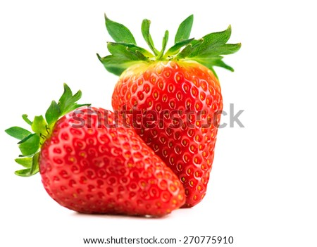Strawberries isolated on a white background. Fresh ripe strawberries on white - stock photo