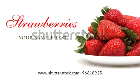 strawberries on  a plate/red berries/fruits