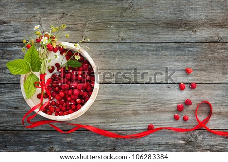 strawberries on wooden background - stock photo