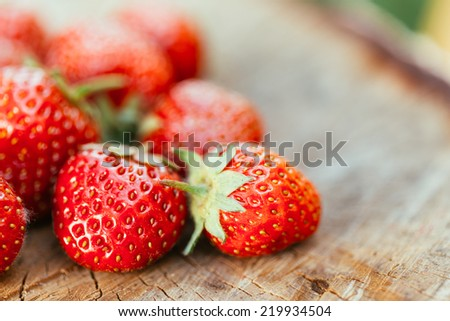 Strawberries. Organic Berries Closeup. Juicy Fresh Ripe Red Strawberries On An Old Birch Stump. Toned Image