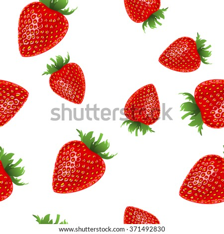 Strawberries seamless hand drawn pattern with white background - stock photo