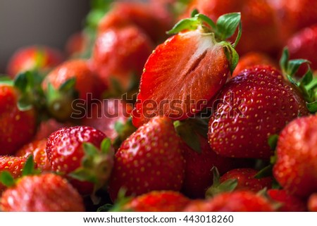 Strawberries soaked in water
