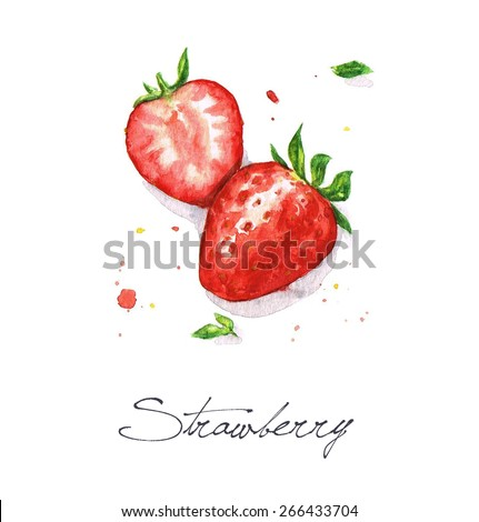 Strawberries - Watercolor Food Collection - stock photo