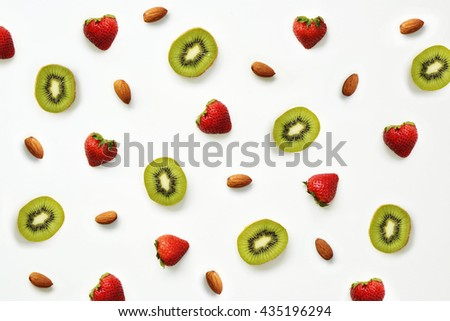 Strawberry, almond and kiwi pattern