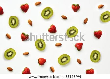 Strawberry, almond and kiwi pattern - stock photo