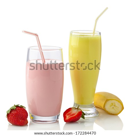 Strawberry and banana milkshakes isolated on white background - stock photo