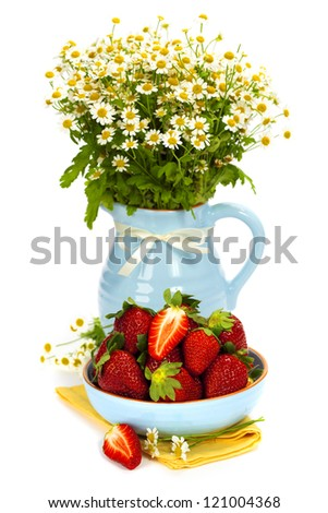 strawberry and bouquet flowers on a white background - stock photo