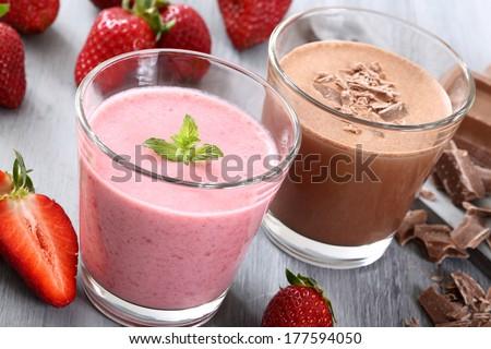 strawberry and chocolate smoothie - stock photo
