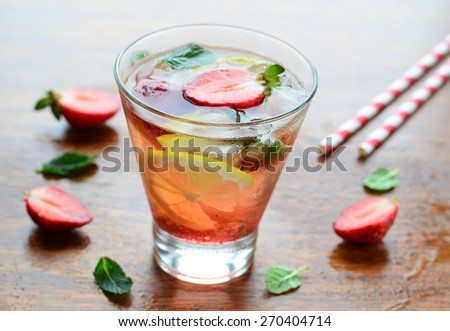 Strawberry and lemon drink, selective focus - stock photo