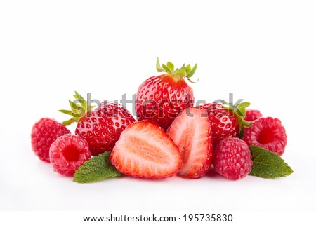 strawberry and raspberry - stock photo