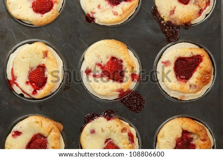 Strawberry and white chocolate cakes - stock photo