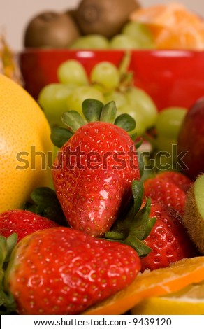 strawberry as main object, natural source of vitamins, healthy and juicy