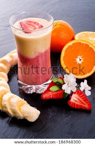 Strawberry Banana smoothie - stock photo