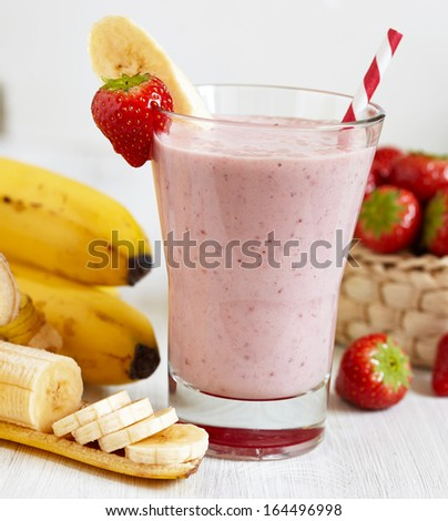 Strawberry Banana Smoothie made with fresh Ingredients - stock photo