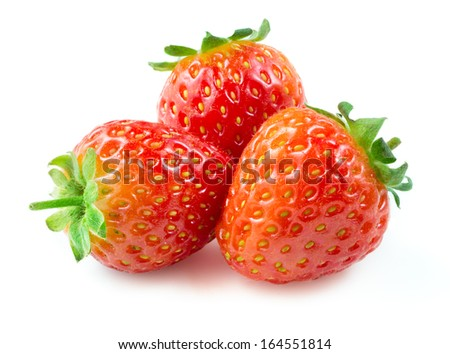 Strawberry. Berries isolated on a white background. - stock photo