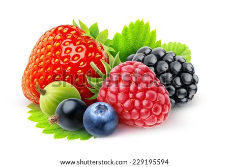 Strawberry, blackberry and other fresh berries over white background, with clipping path - stock photo