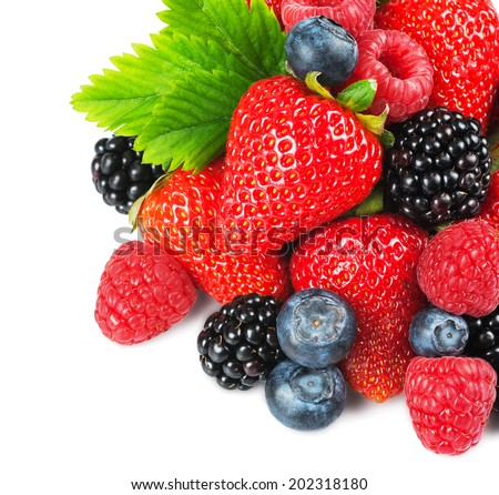 Strawberry, blackberry, raspberry and blueberry with leaves on the white background for your design - stock photo