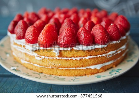 Strawberry cake - stock photo