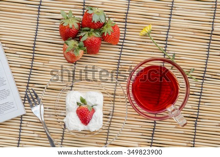 Strawberry cake and tea strawberry . - stock photo