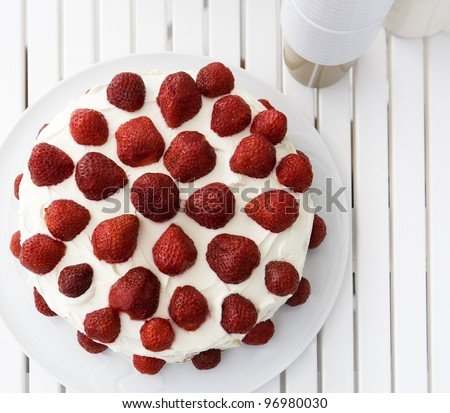 Strawberry Cake from High Angle view - stock photo