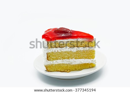 Strawberry Cake isolated in white background - stock photo