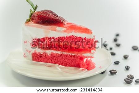 strawberry cake isolated on white background - stock photo