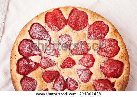Strawberry cake with powdered sugar - stock photo