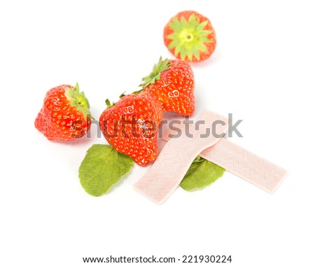 Strawberry chewing gum - stock photo