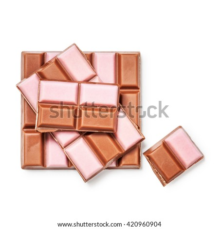 Strawberry chocolate bar and pieces. Delicious dessert. Objects isolated on white background, clipping path included. Top view, flat lay