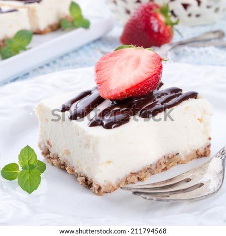Strawberry Chocolate Cheesecake - stock photo