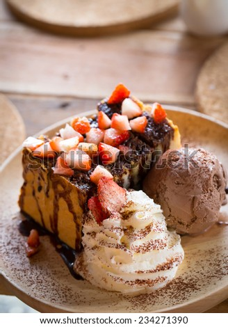 Strawberry Chocolate Honey Toast with Ice Cream - stock photo