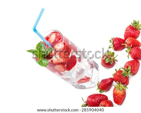 strawberry cocktail and berries closeup on white background