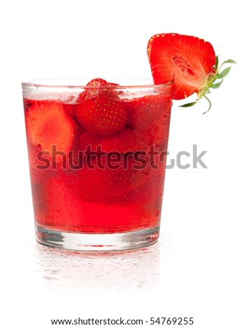 Strawberry cocktail. Isolated on white background - stock photo