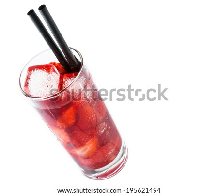 Strawberry cocktail with ice isolated on white background and space for text