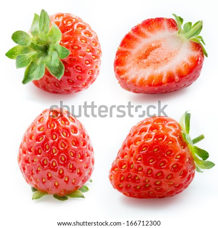 Strawberry. Collection isolated on white - stock photo