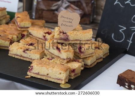 Strawberry Crumble Bakewells - stock photo