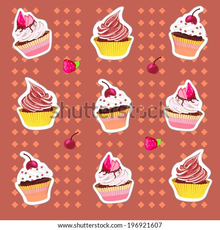Strawberry cupcake and background cherry