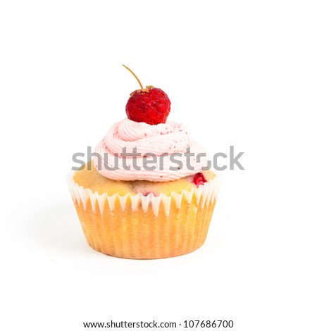 strawberry cupcake on white background