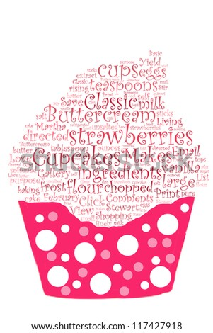 Strawberry cupcake recipe in word collage - stock photo
